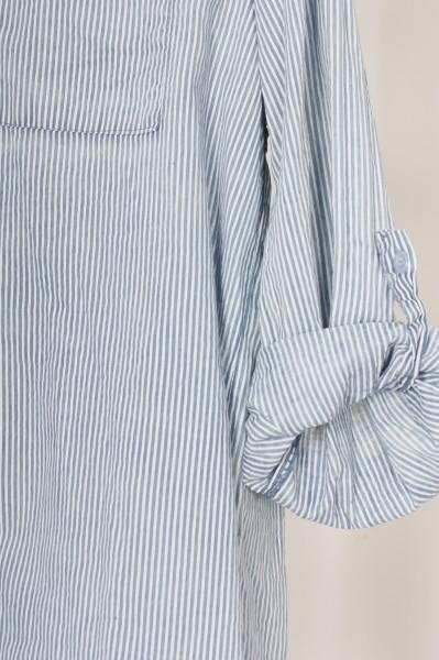 Hemdbluse mit zarten Streifen jeansblau